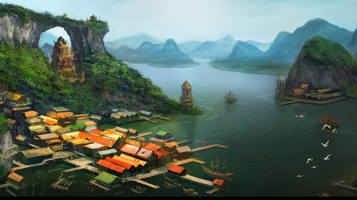 village, tower, artwork, rooftops, lake, building, pier, architecture, ship, birds, anime, fantasy art, painting, digital art, mountains, house, trees, nature, Asian architecture, ports