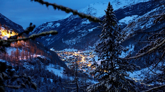 mountains, trees, evening, forest, valley, house, Switzerland, winter, snow, pine trees, lights, village, landscape, Swiss Alps, nature
