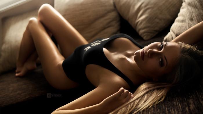no bra, cleavage, Wojtek Pruchnicki, body oil, girl, monokinis, boobs, model, lying on back, oiled body, blonde, sideboob, couch, blue eyes, tank top, in bed
