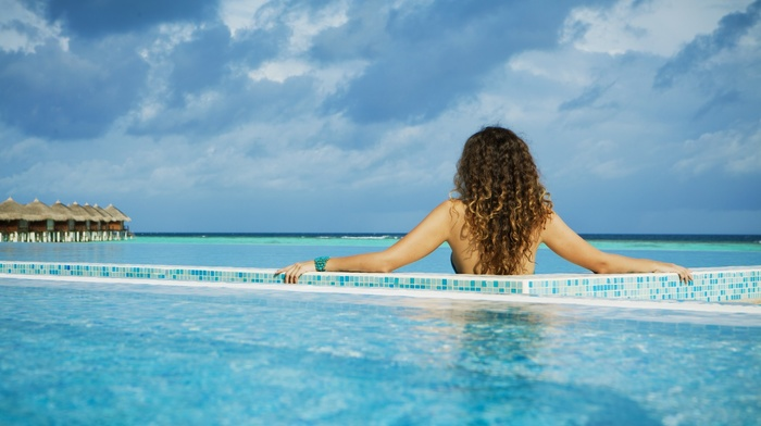 clouds, holiday, swimming pool, back, girl outdoors, sunlight, brunette, girl, house, curly hair, long hair, Maldives, model, sea, bare shoulders, nature, rear view, horizon, tropical