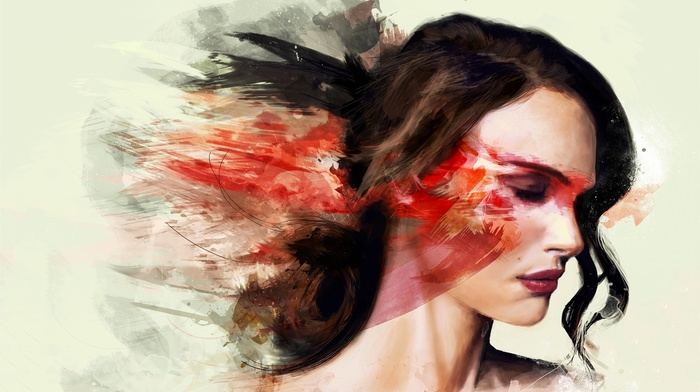 girl, abstract, closed eyes, painting, face, white  background, Natalie Portman, Black Swan