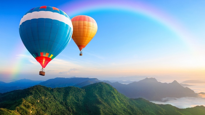 sky, landscape, rainbows, hot air balloons, nature, mountains