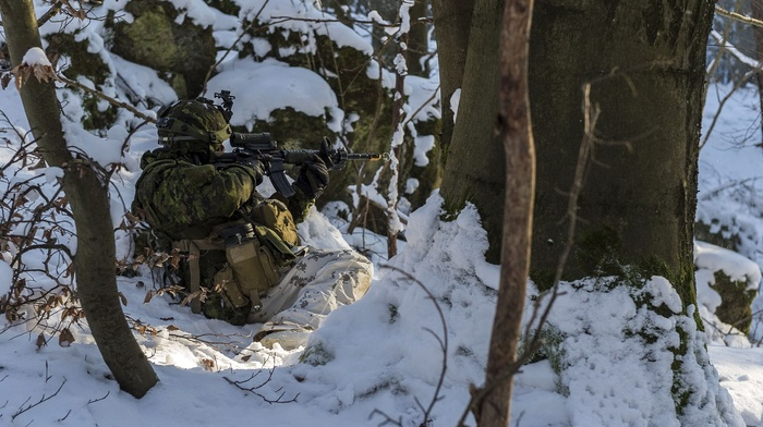 winter, Canadian Army, snow, soldier