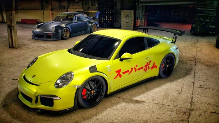 Porsche 911 Carrera S, Porsche 911 GT3 RS, Need for Speed, garages, Porsche, car, yellow cars, video games