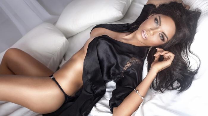 girl, sensual gaze, ass, in bed, panties, boobs, model, brunette, looking at viewer, lingerie