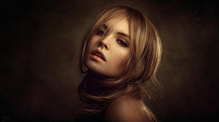 portrait, Georgy Chernyadyev, open mouth, model, warm colors, Anastasia Scheglova, face, blonde, girl