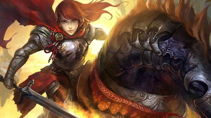 artwork, armor, fantasy art, sword, warrior, Legend of the Cryptids, horse, war horse