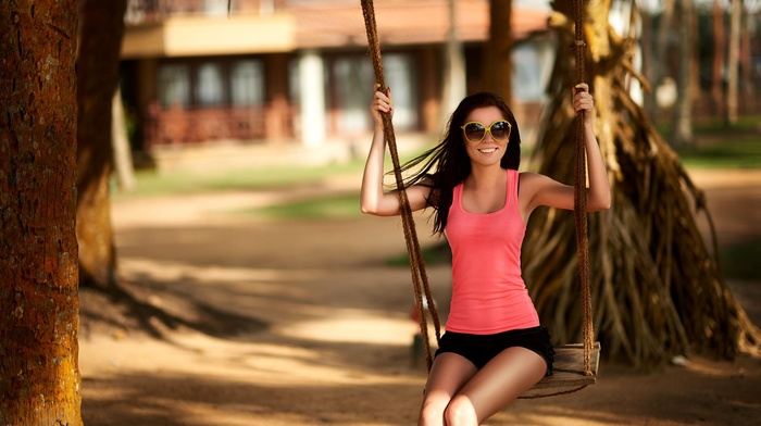 shorts, tank top, brunette, sunglasses, girl outdoors, swings, smiling, Eugene Nadein, straight hair, long hair, depth of field, girl, model