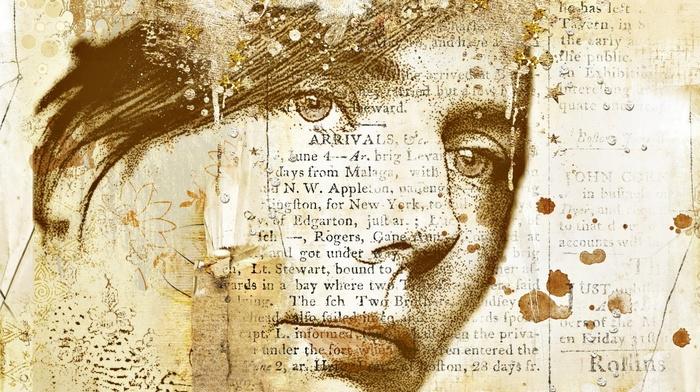 portrait, circle, digital art, paint splatter, girl, artwork, newspapers, paper, face, old paper, flowers, vintage, stars, text