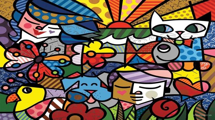 animals, digital art, birds, stripes, leaves, fish, dog, artwork, dots, Sun, cat, colorful, butterfly, heart, face, flowers