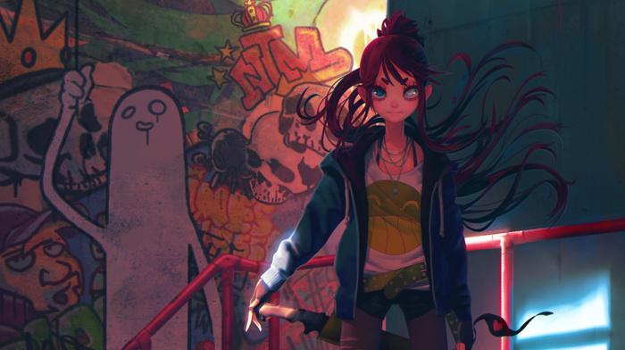 graffiti, redhead, sword, original characters, weapon