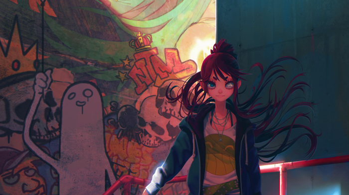 portrait display, redhead, original characters, graffiti, sword