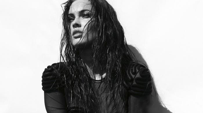 Megan Fox, portrait, actress, monochrome, face