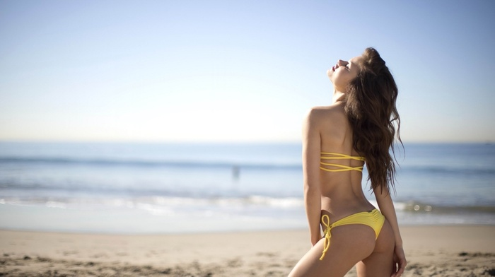 model, bikini, girl, sand, beach, girl outdoors