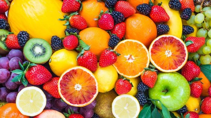 food, strawberries, lemons, grapes, kiwi fruit, apples, fruit, melons, blueberries, blood orange, pineapples
