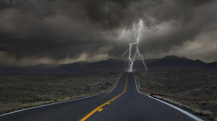 lightning, desert, storm, road