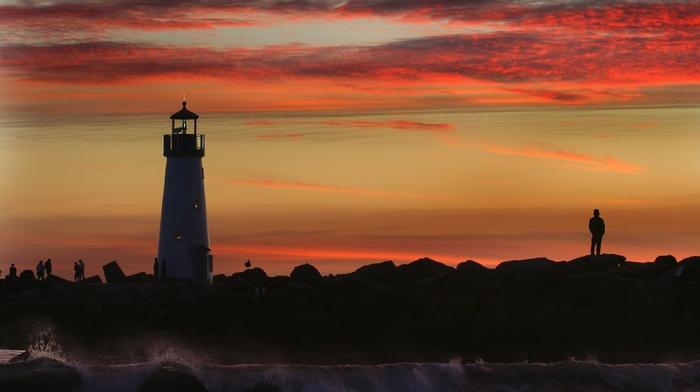photography, sea, lighthouse, water, nature, landscape, coast, sunset