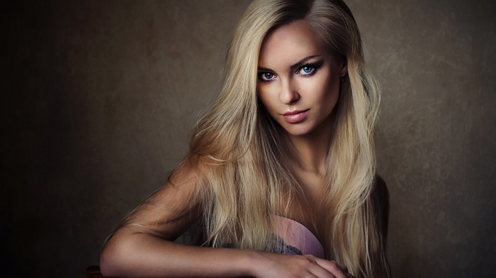 long hair, girl, Victoria Pichkurova, looking at viewer, blue eyes, Sean Archer, blonde, model, simple background