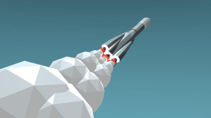 R, 7, Soyuz, minimalism, Rocket, spaceship, smoke, blue background, low poly