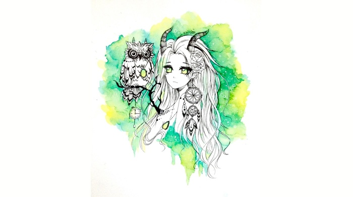 original characters, owl, watercolor, green