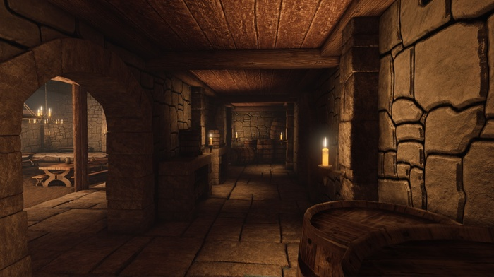 candles, barrels, Christopher Sydell, 3D, medieval
