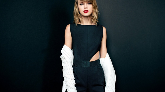 looking at viewer, Taylor Swift, girl, celebrity, blonde, simple background, singer