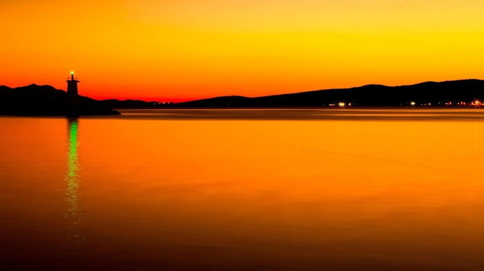 sunset, water, lights, photography, landscape, sea, orange