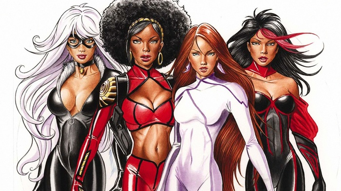 comics, artwork, Tarantula Character, hero, Black Cat character, superhero, Colleen Wing, Marvel Comics, Misty Knight