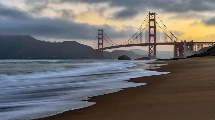 USA, Pacific Ocean, sky, bridge, landscape, clouds, san francisco, golden gate bridge, sea, beach