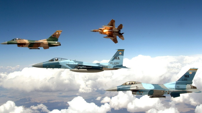 jets, flares, General Dynamics F, 16 Fighting Falcon, military aircraft, aircraft, camouflage, McDonnell Douglas F, 15 eagle
