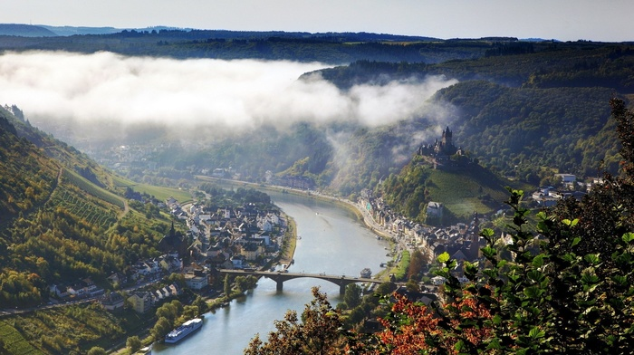 castle, hills, town, trees, landscape, bridge, nature, church, river, Germany, forest, leaves, house, mountains, Klotten, ship, birds eye view, mist, architecture, vineyard, valley