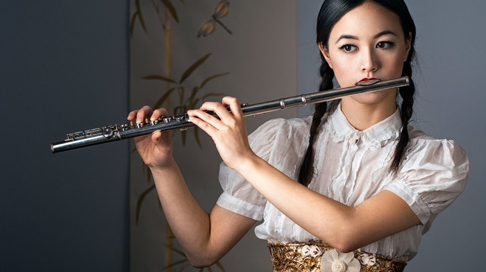 Asian, looking away, braids, red lipstick, model, music, playing, musical instrument, brunette, girl, white tops, brown eyes, long hair