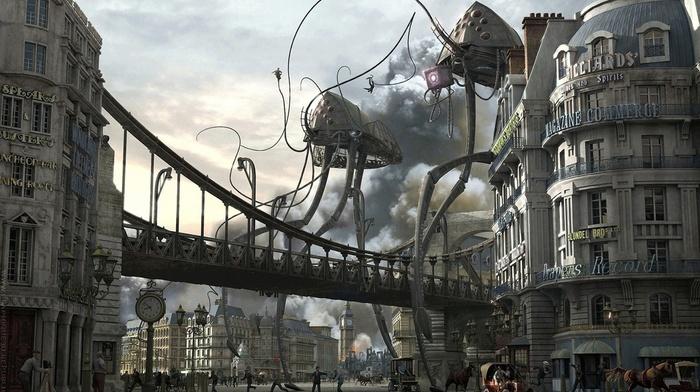 aliens, digital art, London, Big Ben, war, War of the Worlds, city