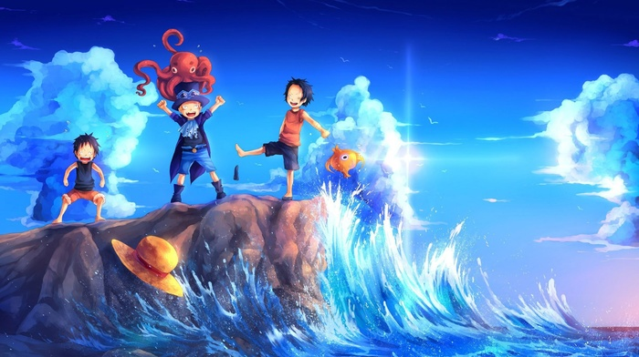 sky, smiling, Monkey D. Luffy, sea, One Piece, Portgas D. Ace, strawhat pirates, straw hat, children, clouds