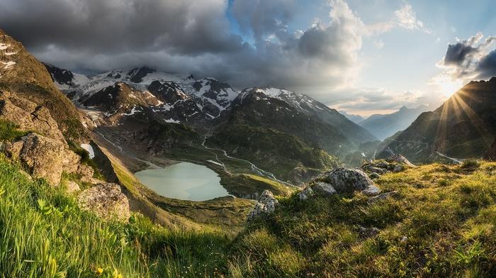 nature, Alps, clouds, snowy peak, sun rays, mountains, sunset, lake, landscape, Switzerland, grass