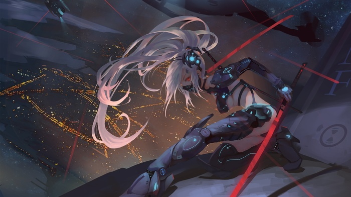 white hair, anime girls, cyberpunk, sword, original characters