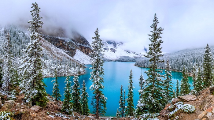 trees, mountains, landscape, nature, forest, snow, lake