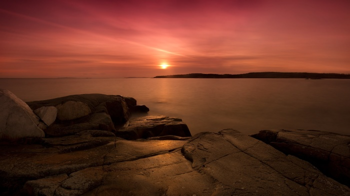 sunset, sea, nature, water, bay, rock formation, photography, landscape
