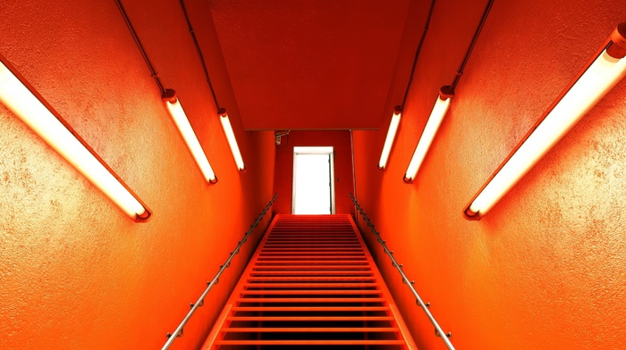 orange, Mirrors Edge, neon, stairs, lights, photography