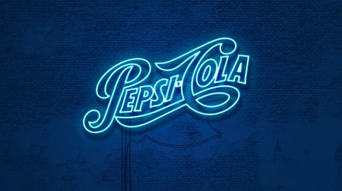 Pepsi, blue, typography, neon