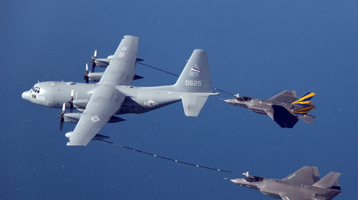 Lockheed Martin F, 35 Lightning II, Lockheed Martin KC, 130, mid, air refueling, jet fighter, military aircraft, aircraft, US Air Force