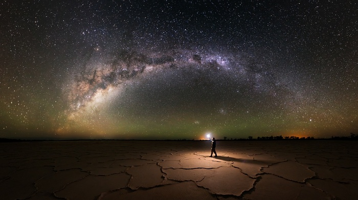 galaxy, salt lakes, lantern, lights, explorer, landscape, Australia, starry night, Milky Way, long exposure, nature