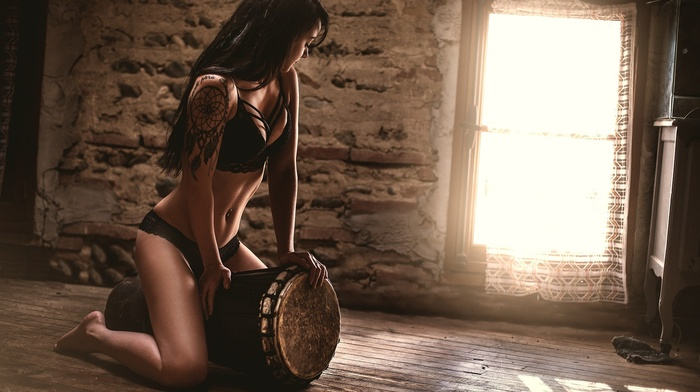 tattoo, hat, looking away, girl, bricks, dirty, cabin, drums, curtains, black lingerie, window, kneeling