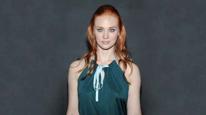 gray background, actress, Deborah Ann Woll, blue eyes, dress, redhead