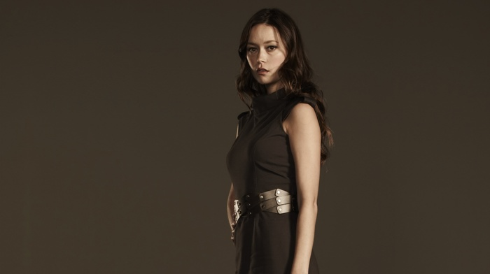 dress, gray background, brunette, Summer Glau, actress