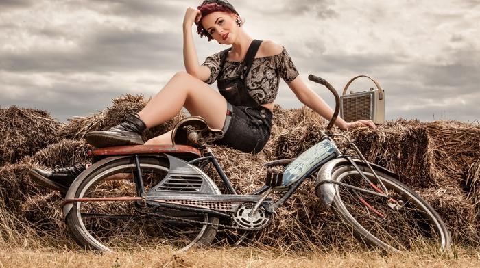 bicycle, girl, model