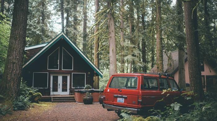 car, Washington state, forest, house, foliage, pine trees, red cars, USA