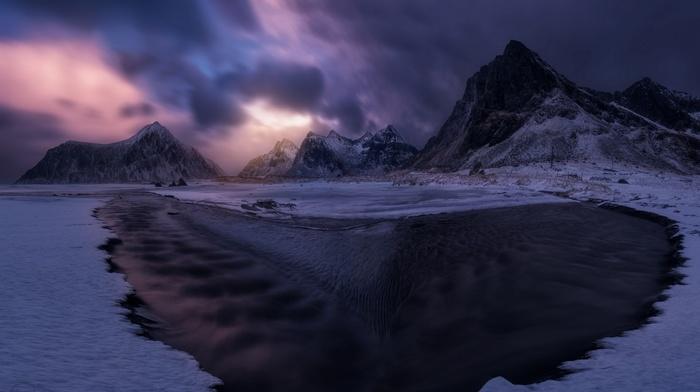 nature, Lofoten Islands, landscape, beach, mountains, snow, clouds, winter, Norway