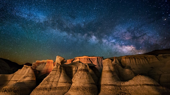 landscape, desert, Milky Way, nature, moonlight, New Mexico, starry night, galaxy, long exposure