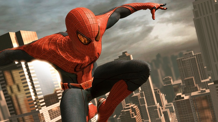 video games, dual monitors, multiple display, Manhattan, New York City, Marvel Comics, Amazing Spider, man, city, superhero